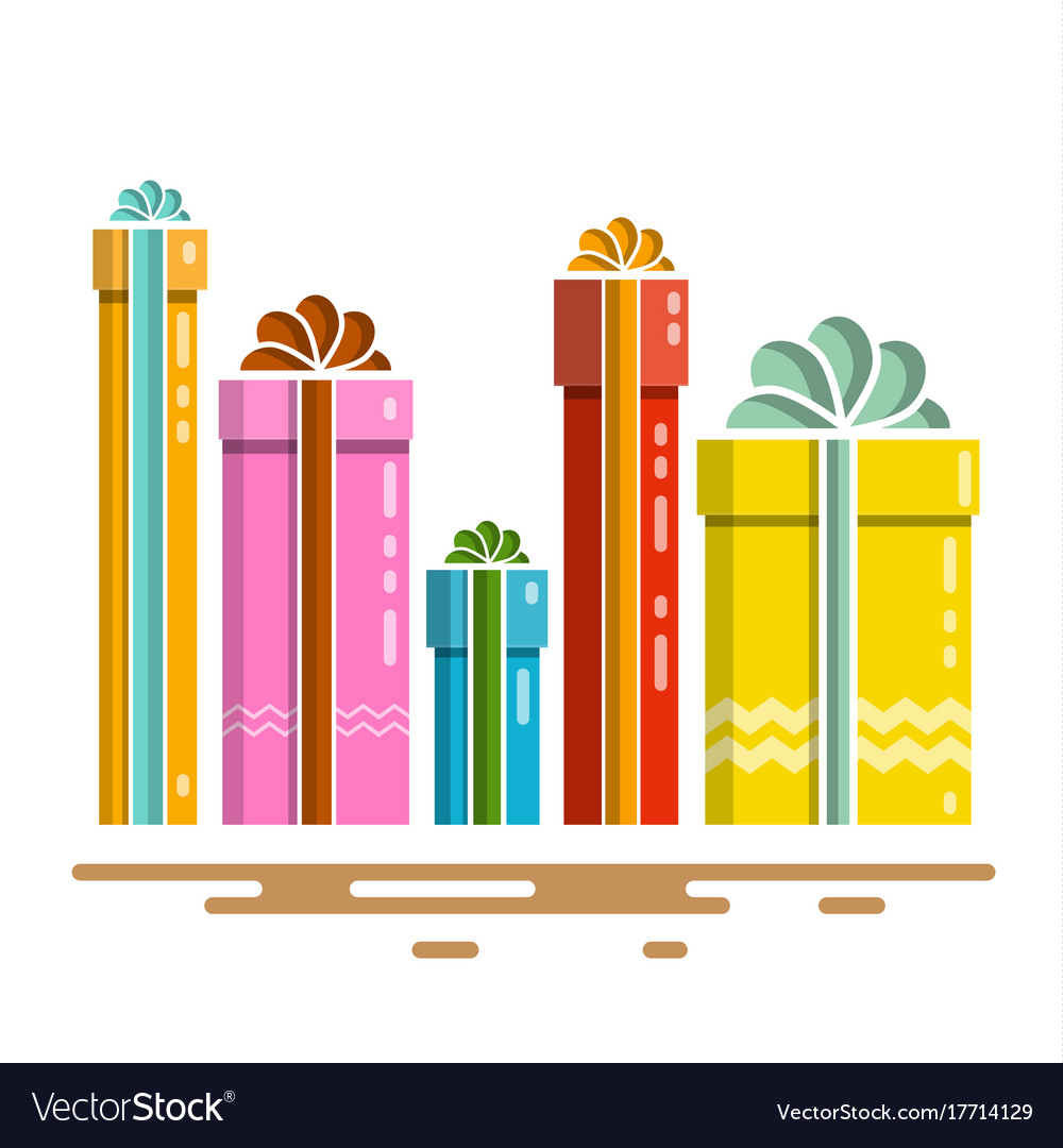Flat design gift boxes present box isolated on vector image