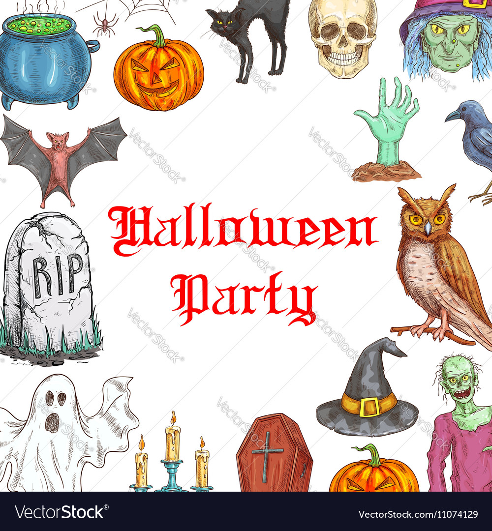 Halloween Party invitation card horror elements