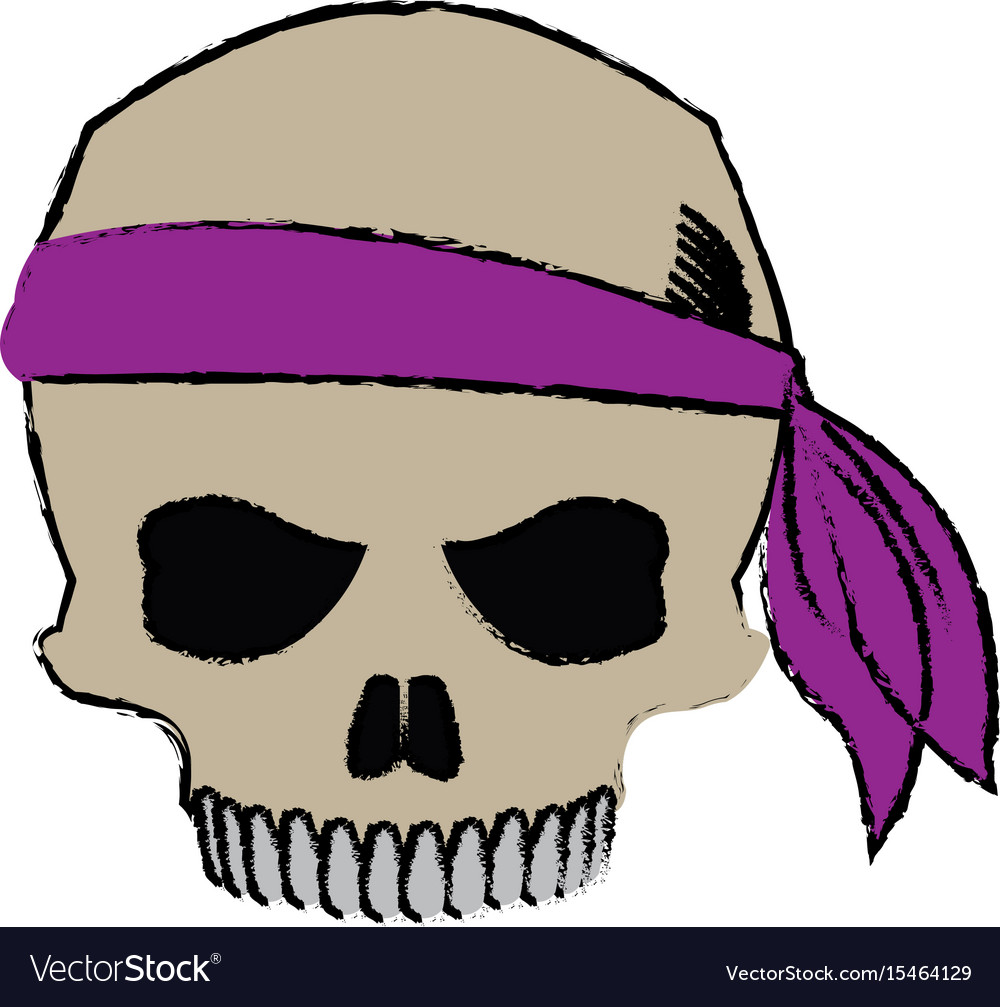 pirate half skull with bandana character vector image rh vectorstock com bandana vector free clipart bandana vector free