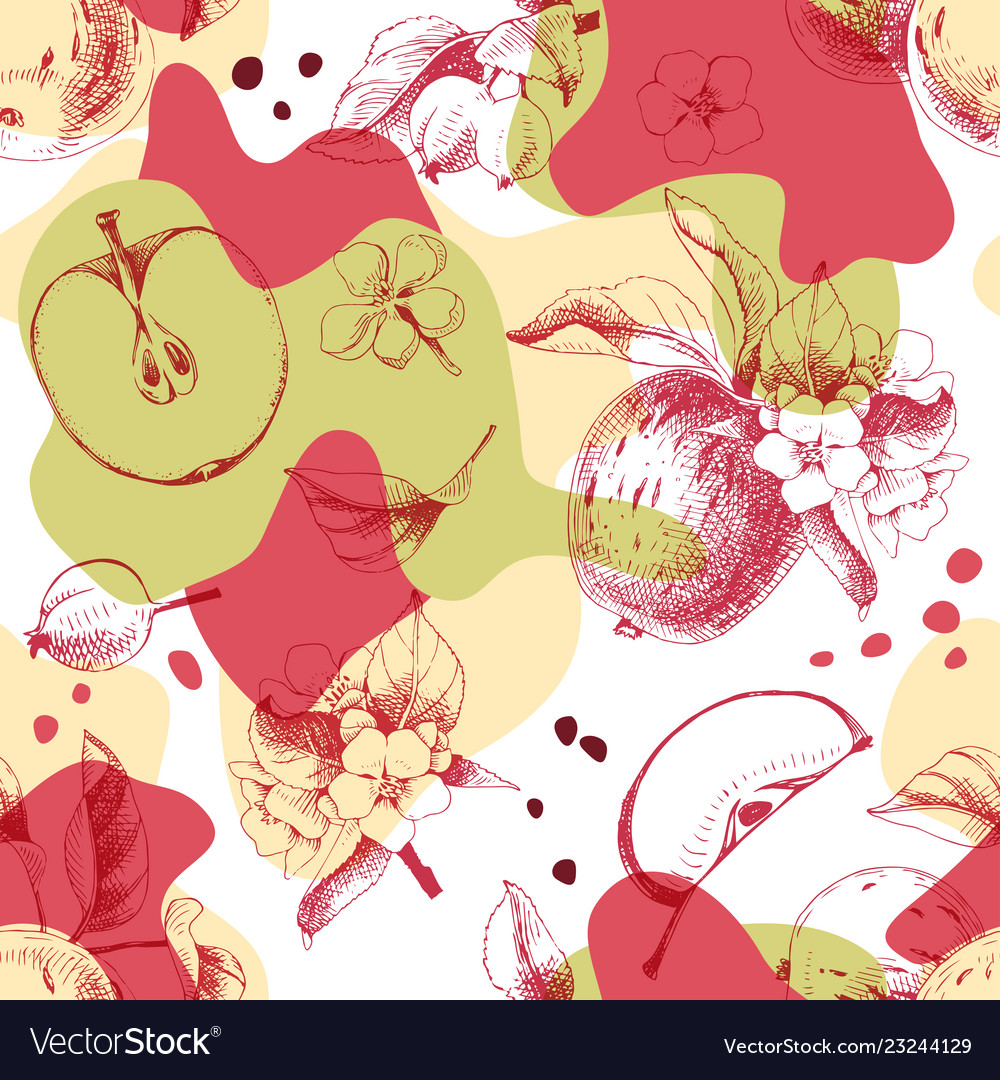 Seamless pattern with hand drawn apple fruits and