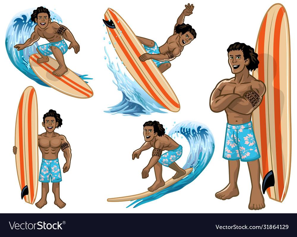 Set cartoon hawaiian man surfer