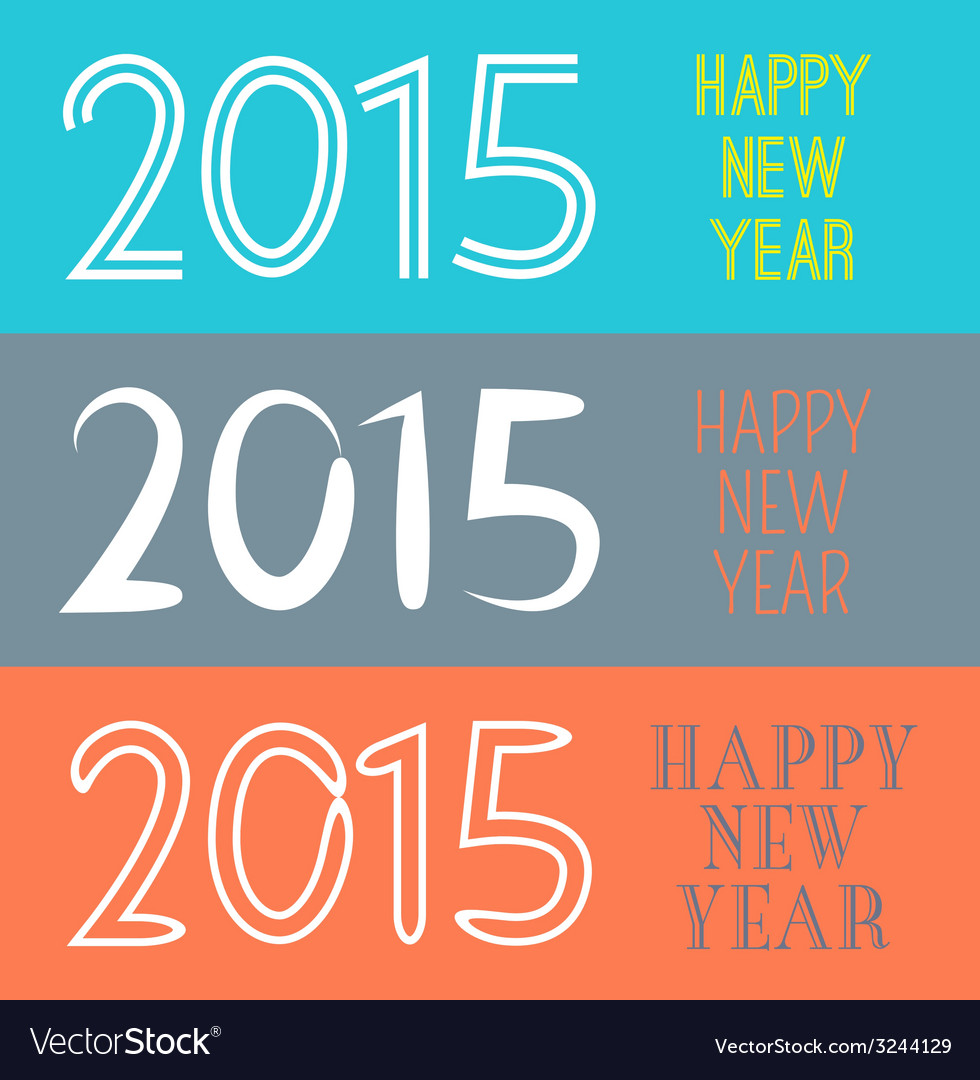 Set of Happy New Year 2015 banner for holiday