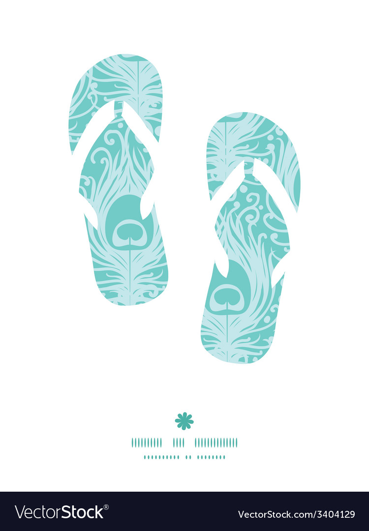 Soft peacock feathers flip flops