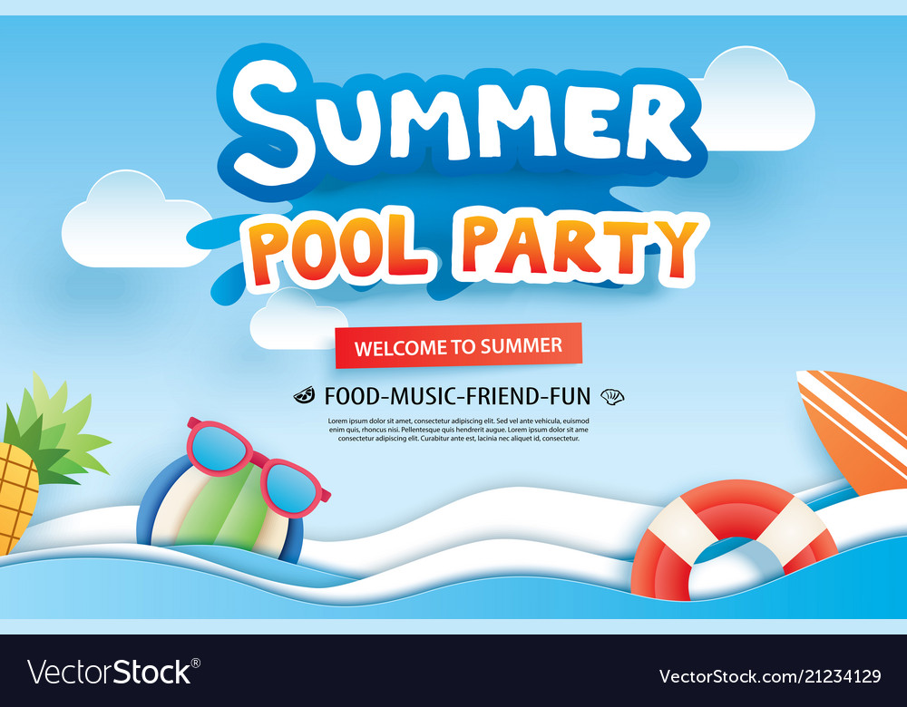 Summer pool party with paper cut symbol and icon