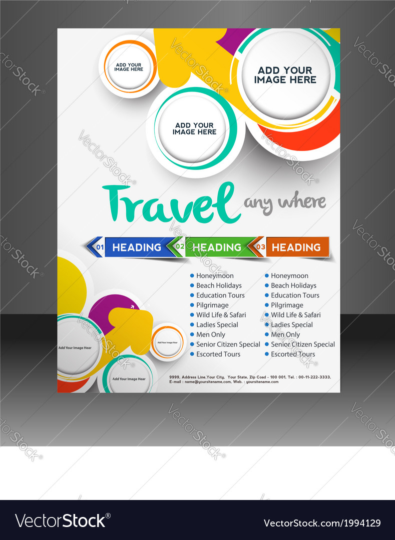 travel flyer template royalty free vector image
