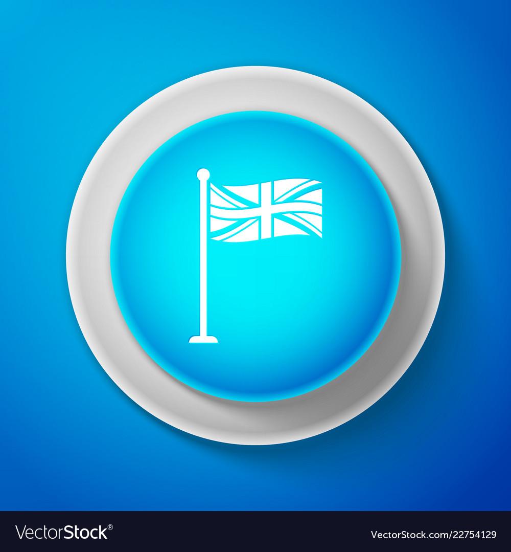 White flag of great britain on flagpole icon