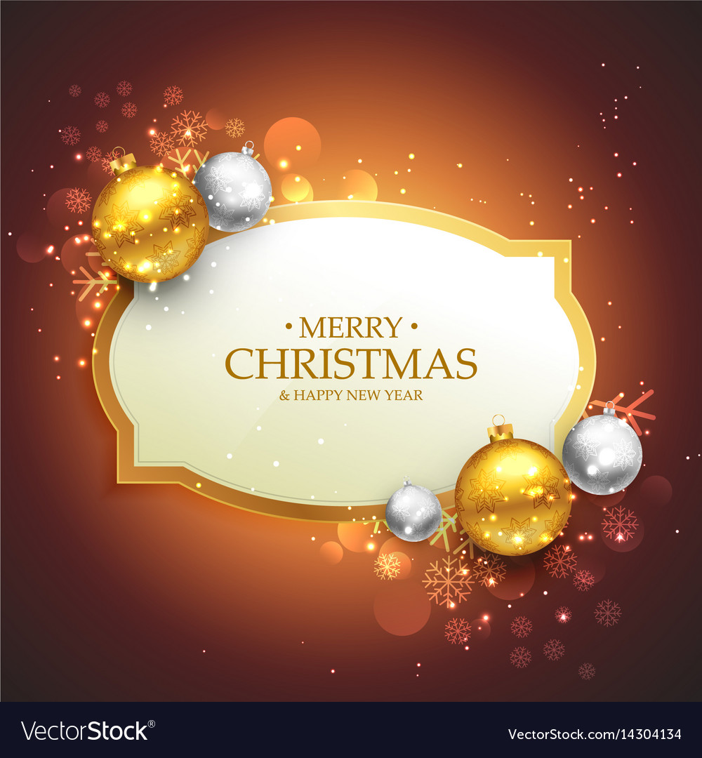 Beautiful merry christmas background with golden Vector Image
