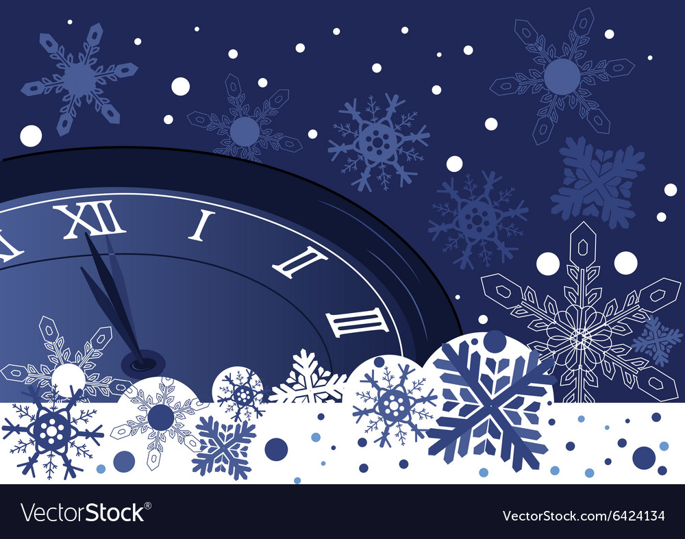 Christmas clock over abstract blue background