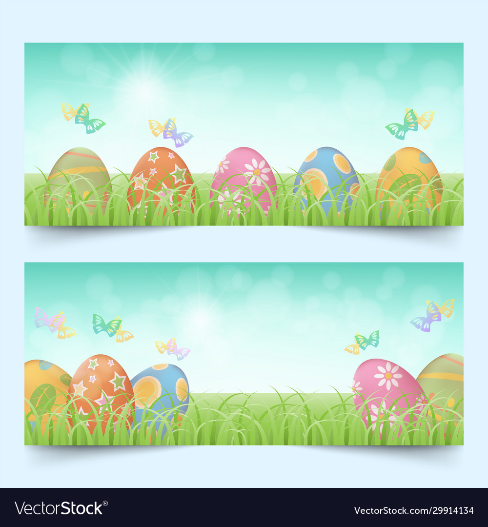Easter eggs in a row banners set