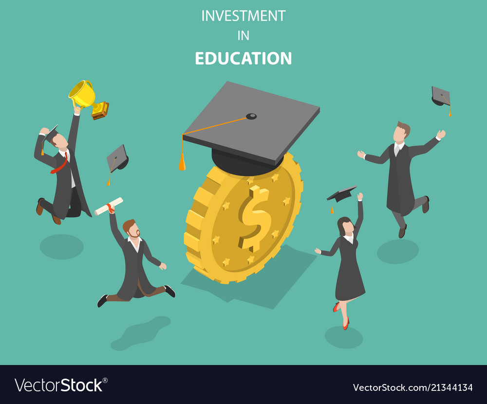 Investment in education flat isometric