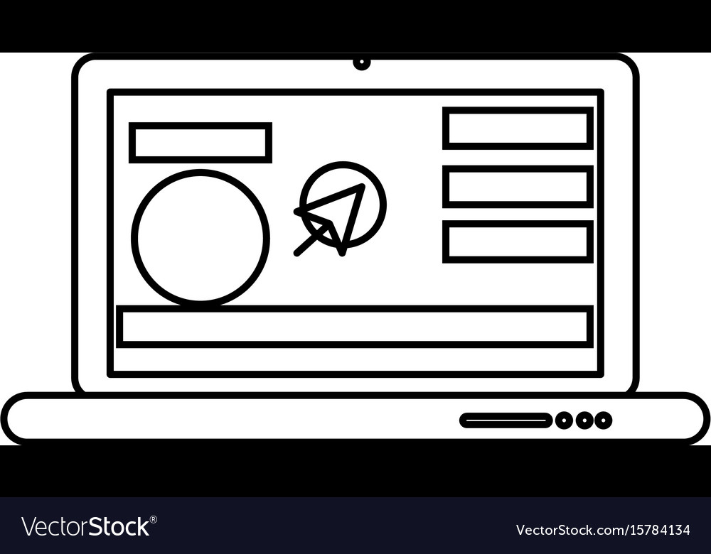 Line laptop with business website and arrow cursor vector image