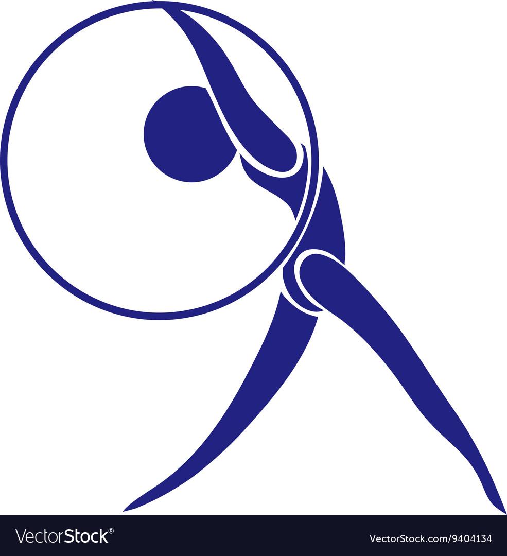 Logo design with gymnastics in blue color
