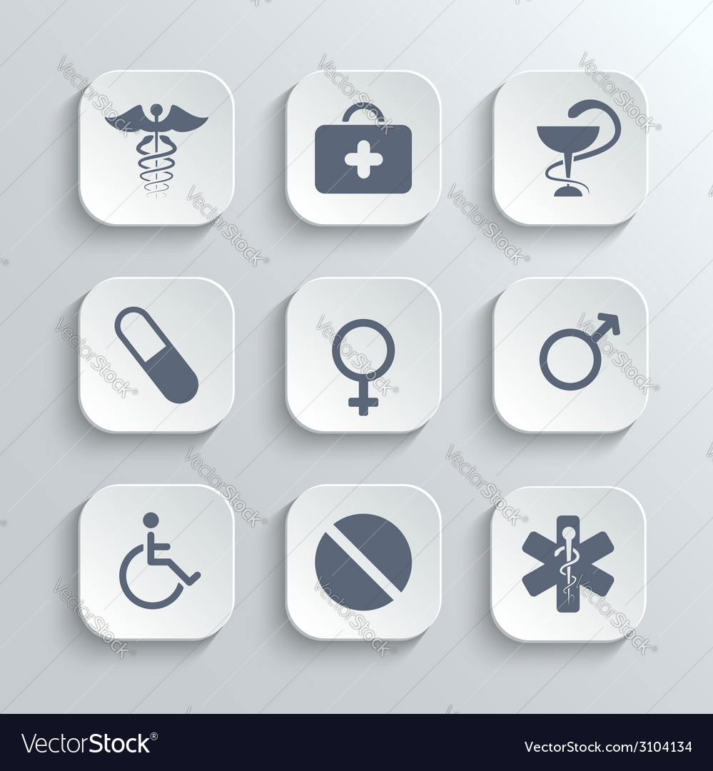 Medical icons set - white app buttons