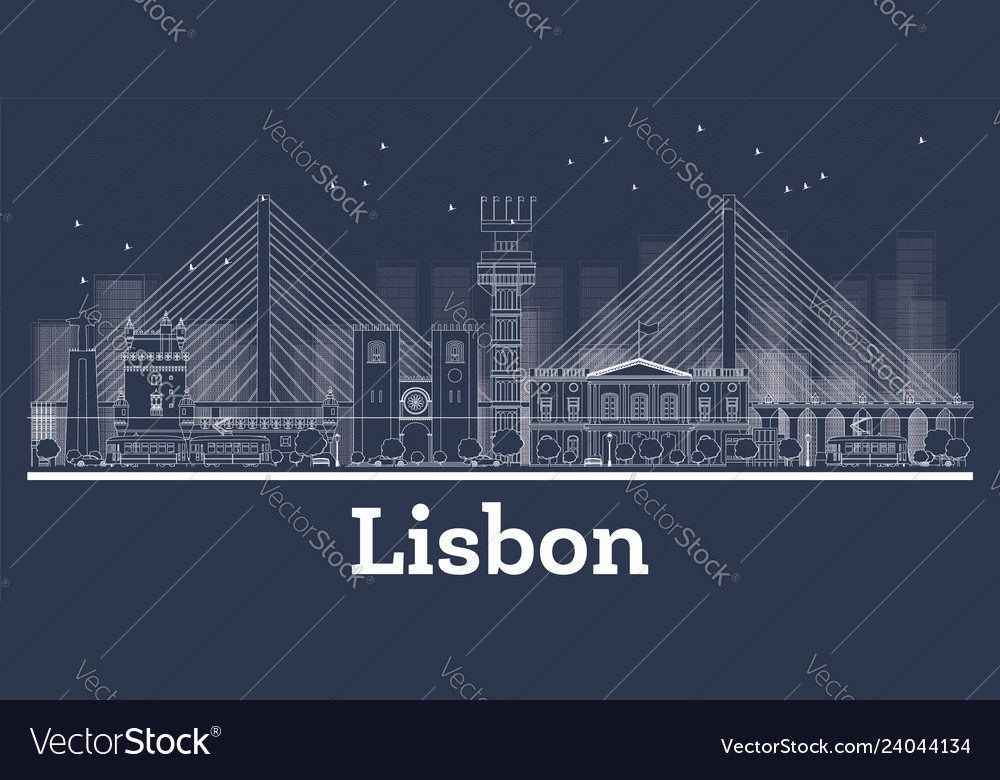 Outline lisbon portugal city skyline with white