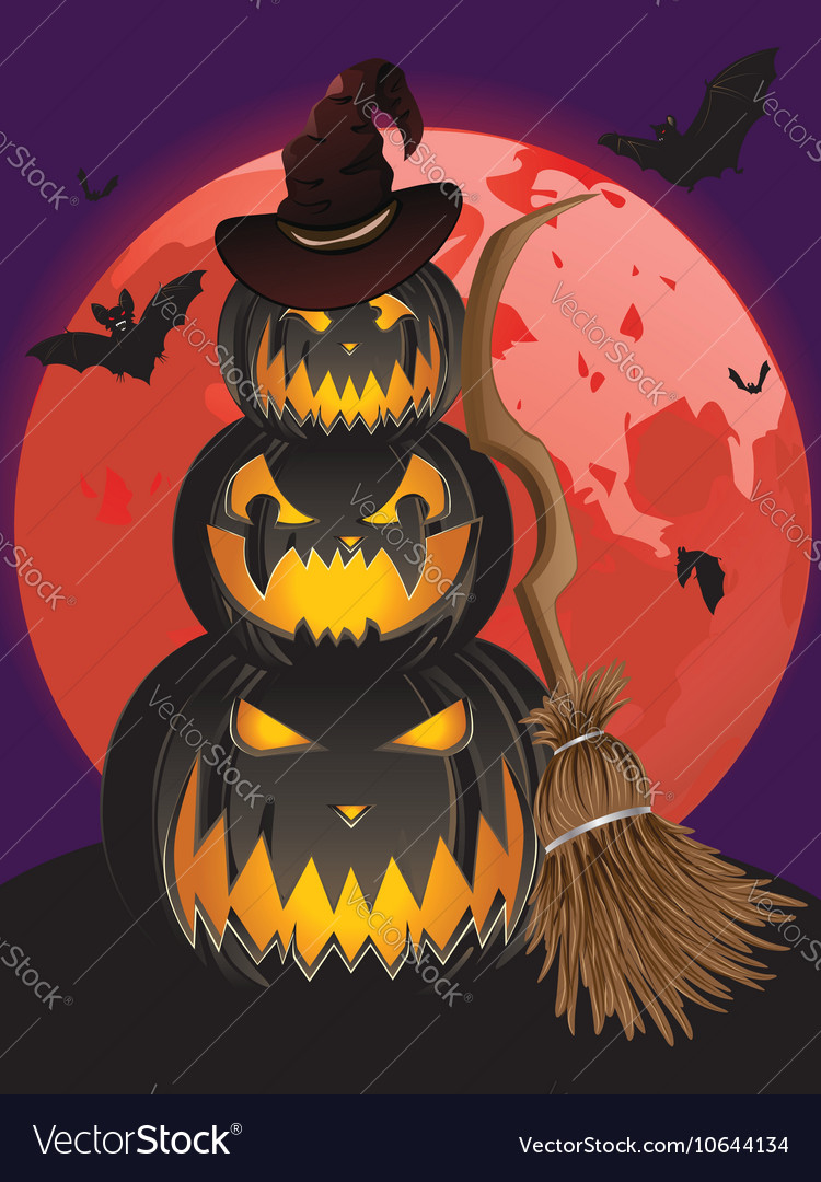 Pumpkins and Red Moon3 vector image