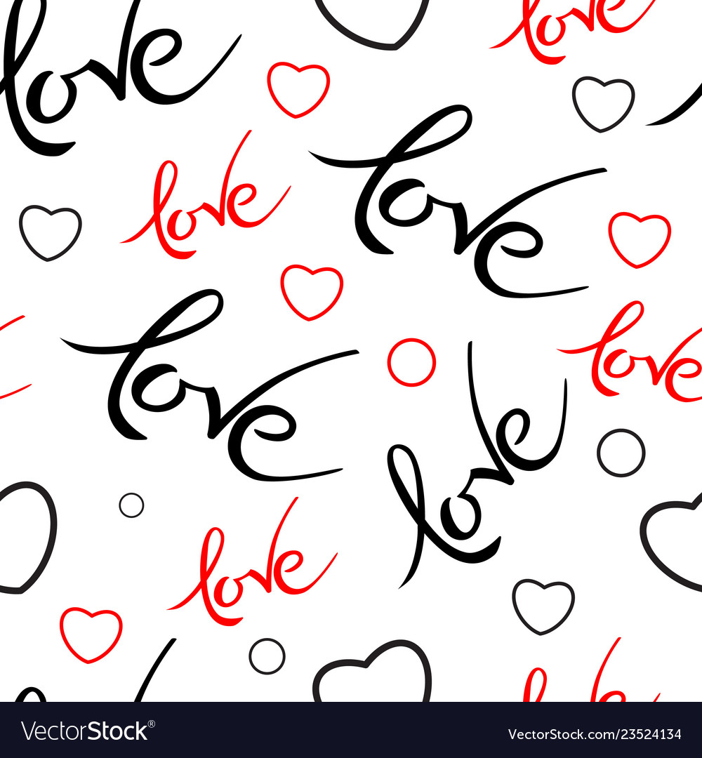 Seamles pattern with valentines day love lettering