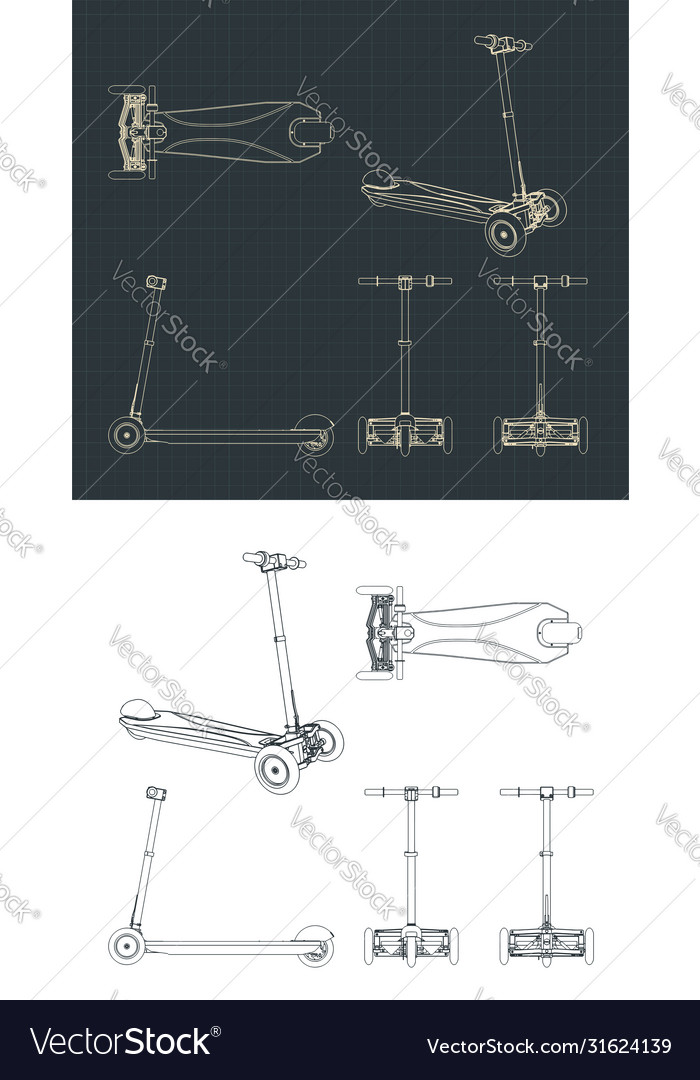 3 Wheel Electric Scooter Drawings Royalty Free Vector Image