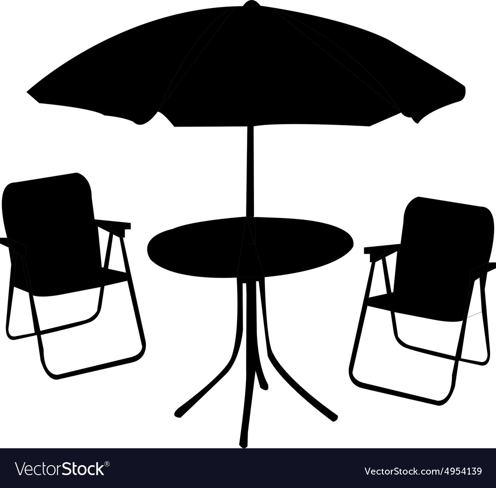 Beach Chair Table And Umbrella Vector Image