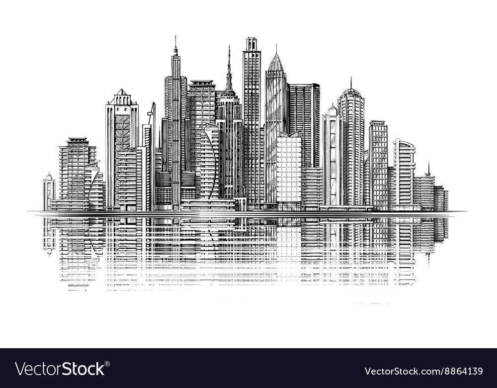 Big city architecture Skyscrapers Vintage sketch