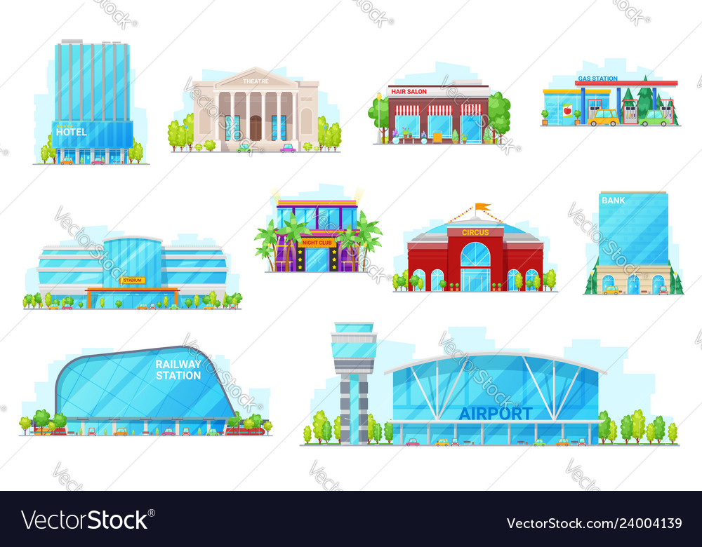 Commercial and urban buildings icons