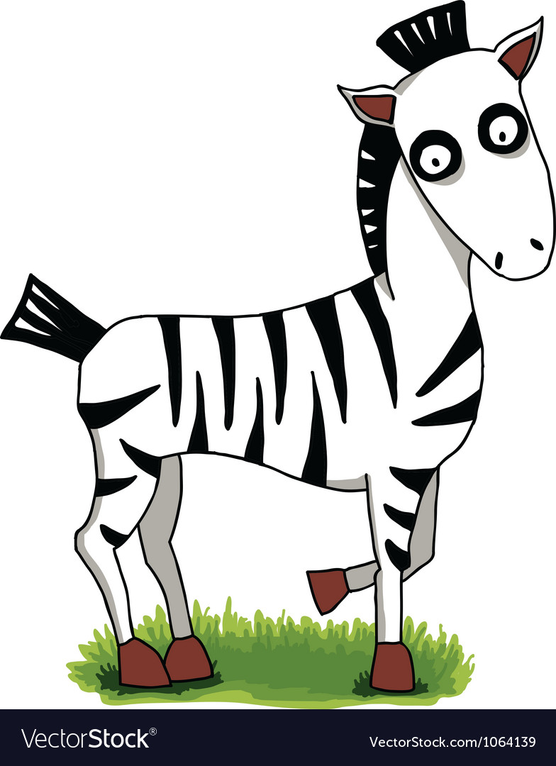 Cute cartoon zebra on green grass