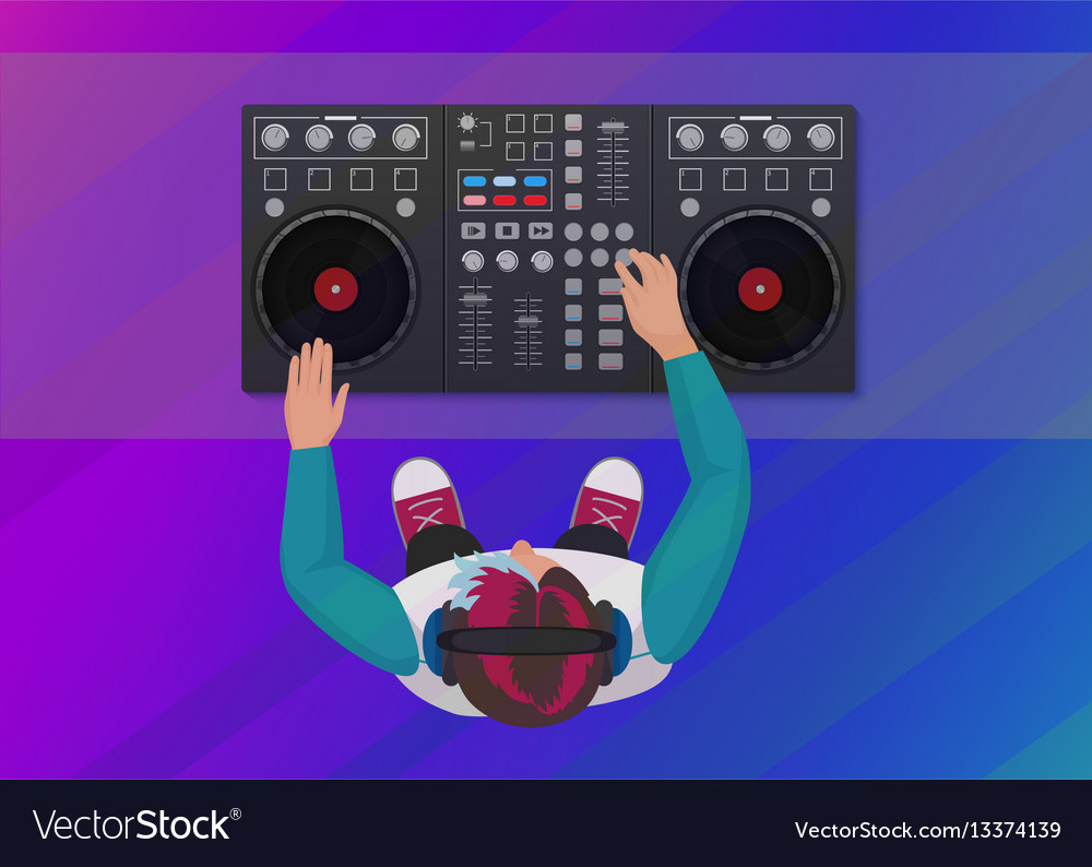 Dj playing vinyl on the neon color light