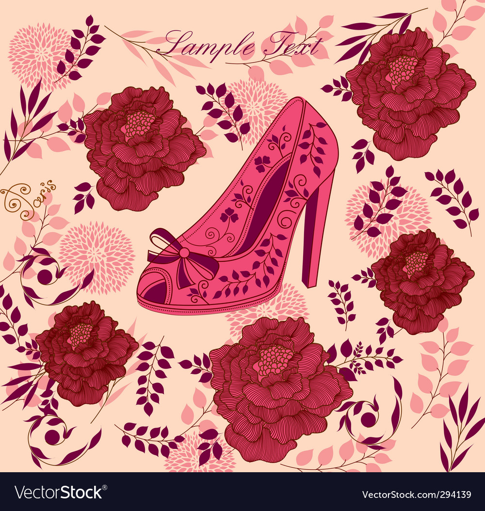 Fashion shoe background vector image