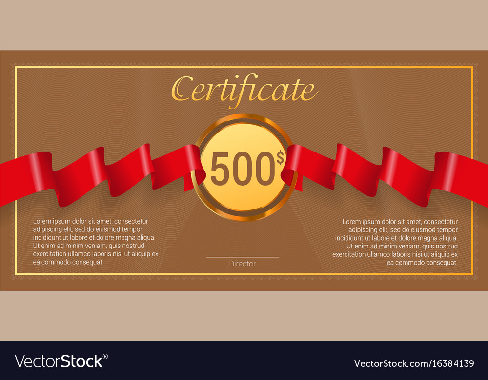 gift certificate with red award ribbon template vector image