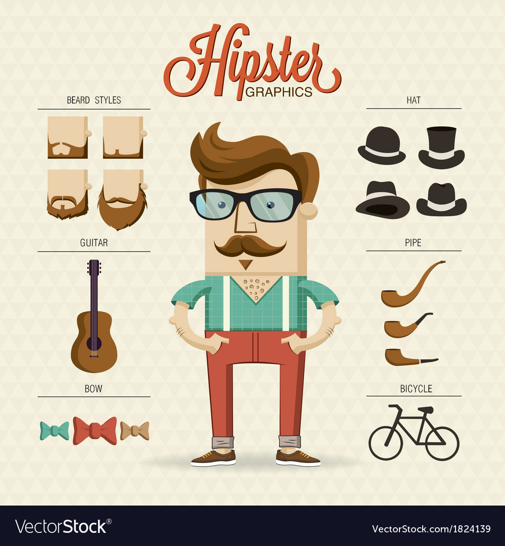 Hipster character with hipster elements and