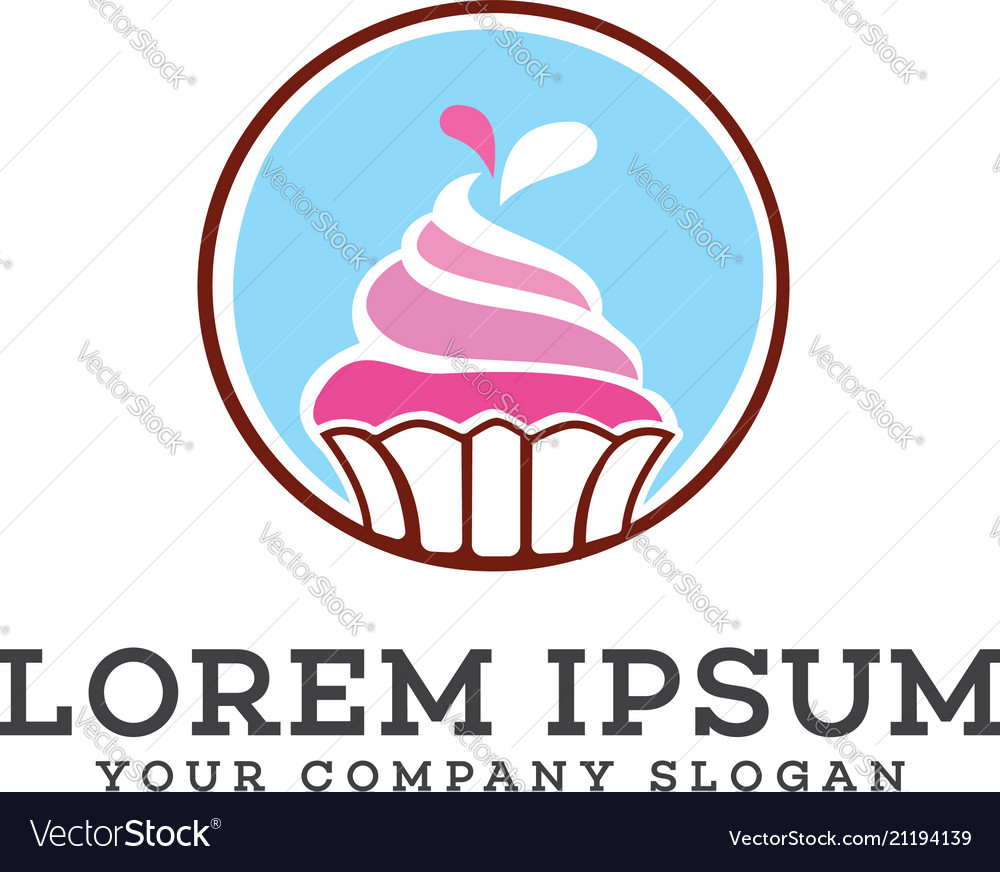 Ice cream cake logo design concept template