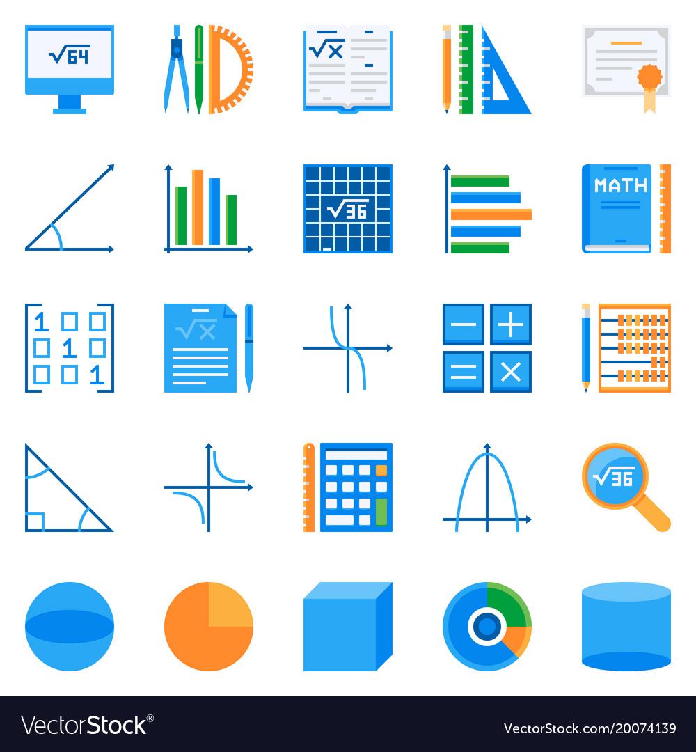 Math flat icons colorful mathematics