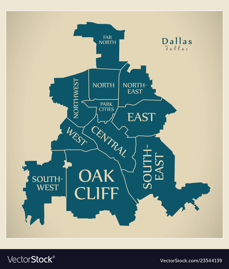 Modern city map - dallas texas city of the usa