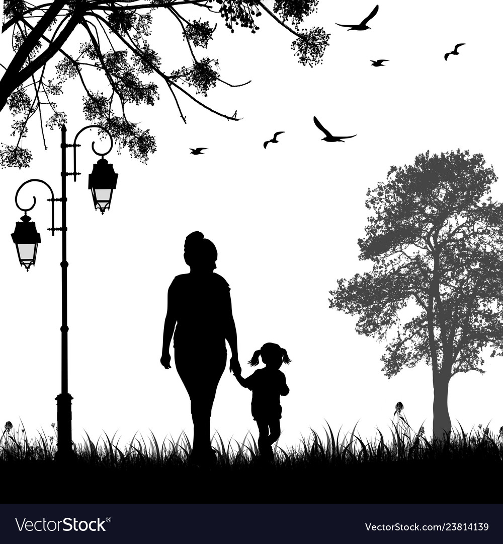 Mother and daughter silhouette walking together