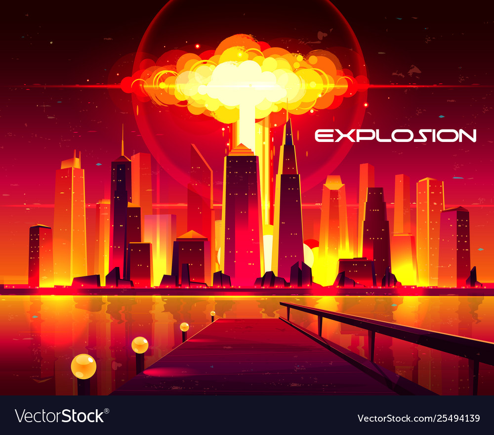 Nuclear weapon explosion in city cartoon