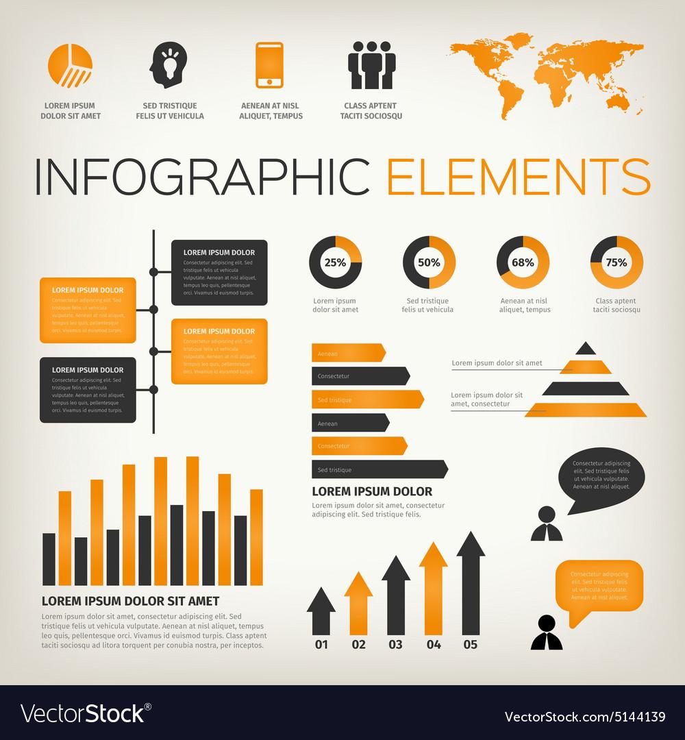 Orange set of infographic elements vector image