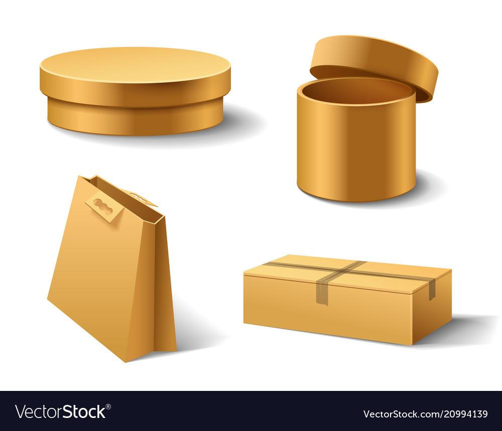 Realistic empty cardboard box opened brown