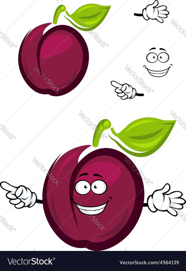Ripe purple cartoon plum fruit with a green leaf
