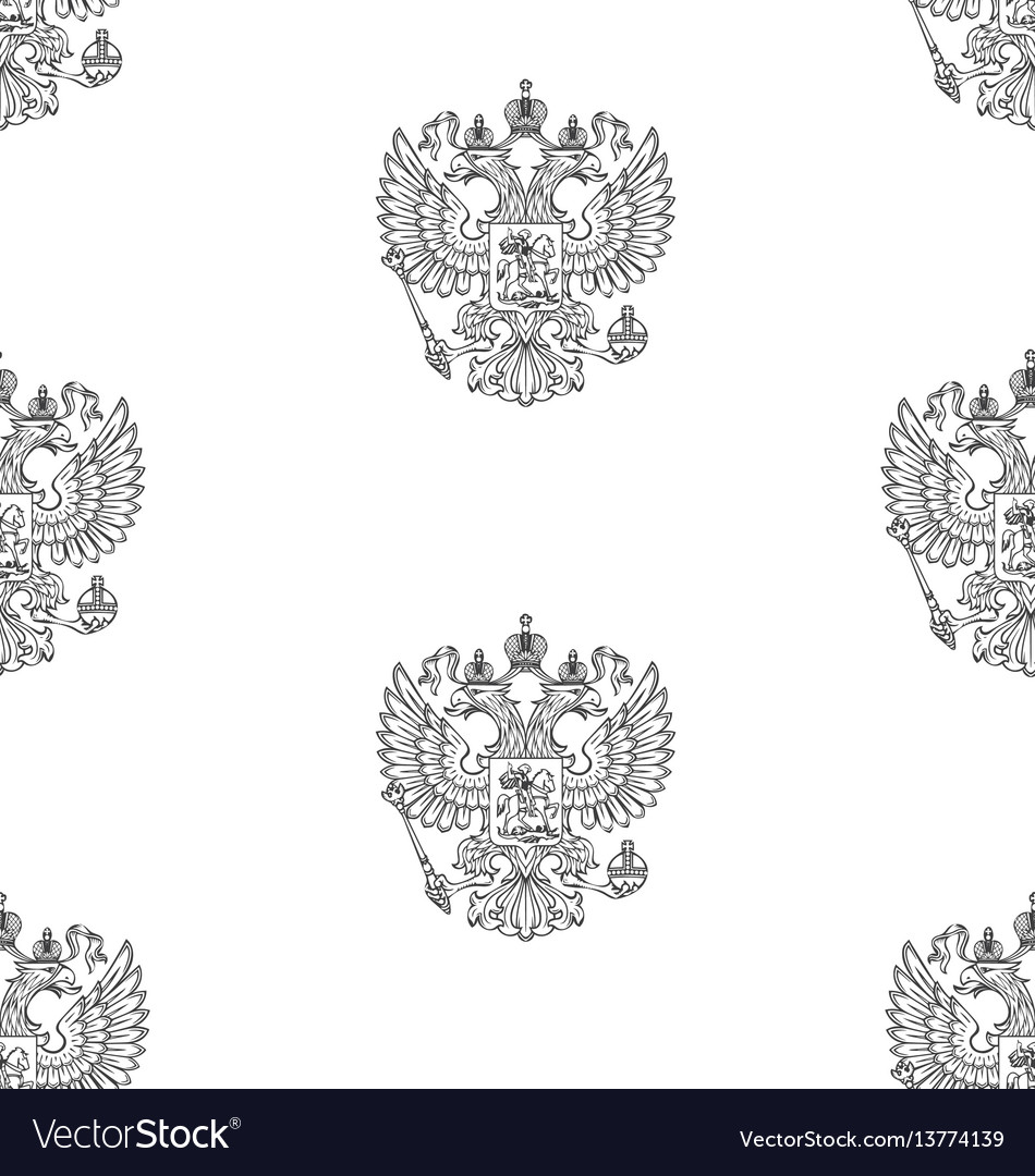 Seamless pattern with russian outlined coat of arm