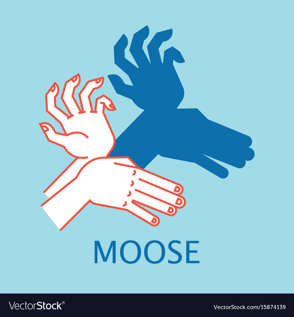 Shadow theater hands gesture like moose vector image