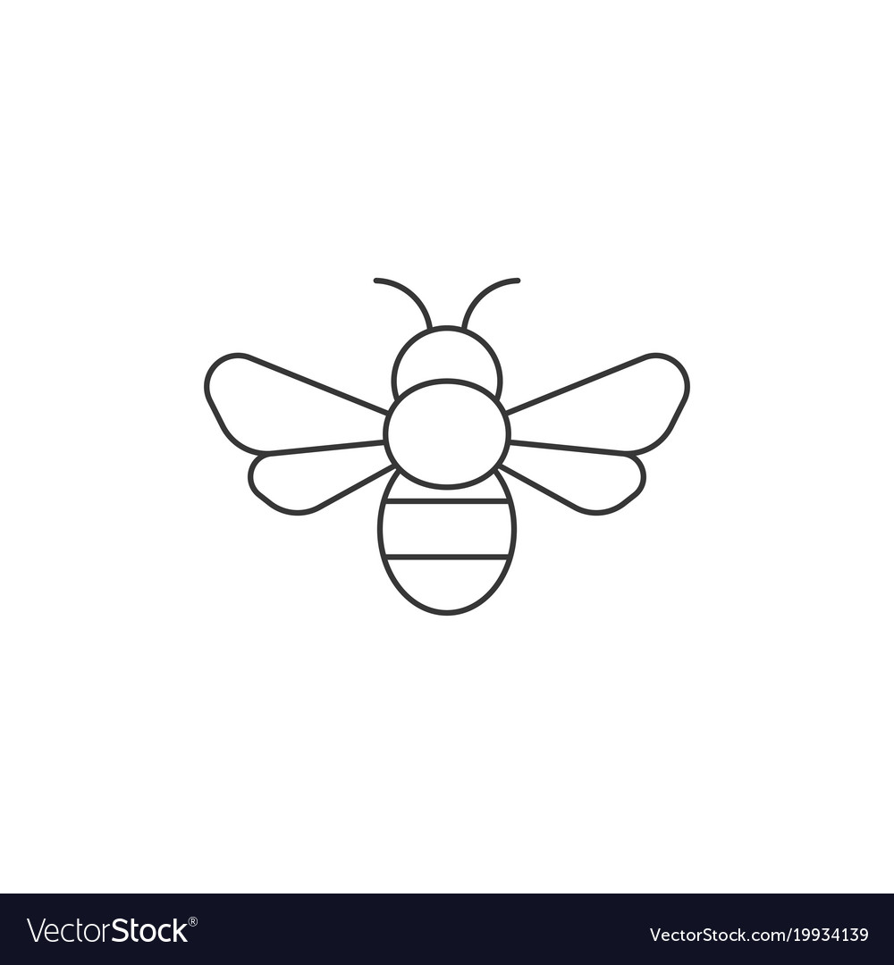 Simple bee icon outline icon Royalty Free Vector Image