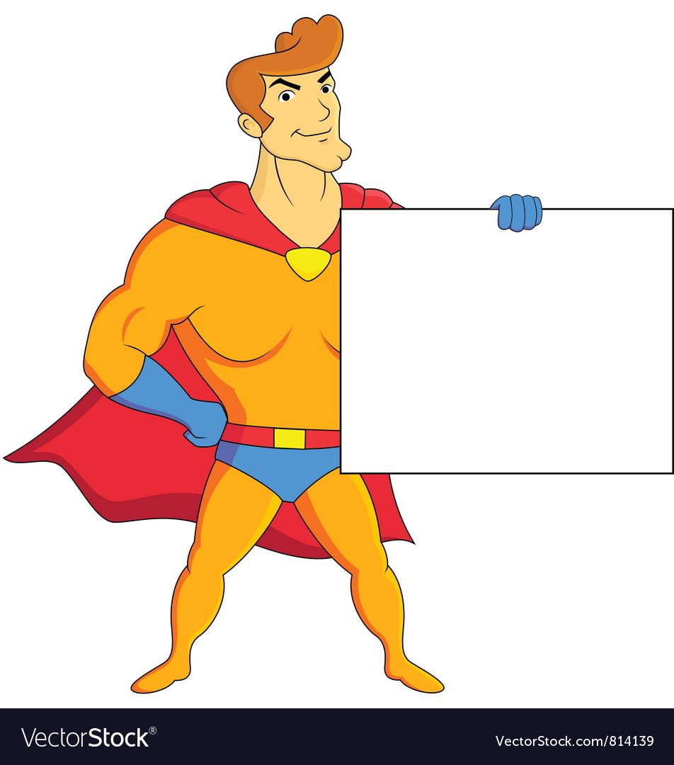 Superhero with blank sign