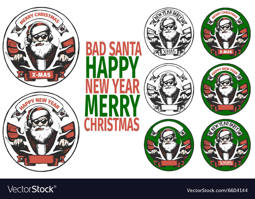 Bad santa banners vector