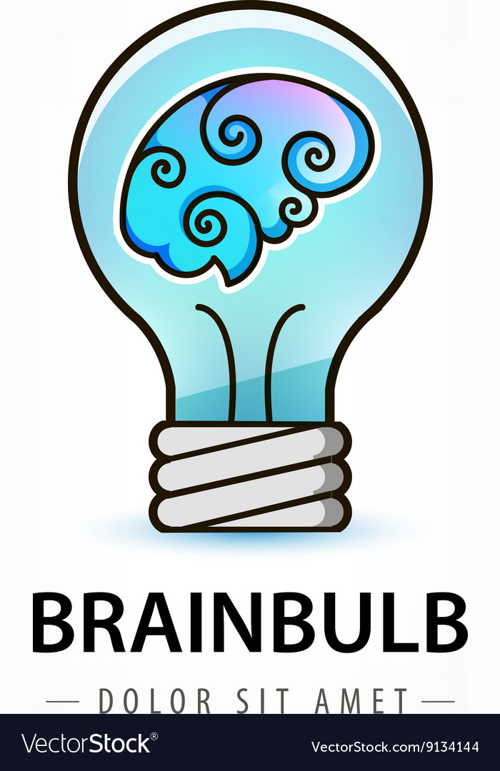 Bulb with brain inside logo