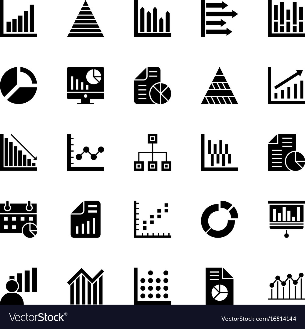 Business charts and diagrams solid icons 1