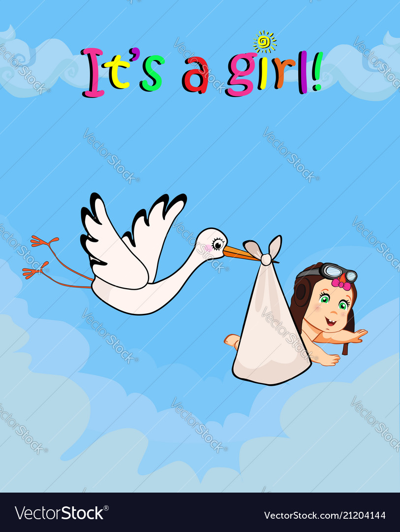 Cartoon with stork carrying cute baby girl