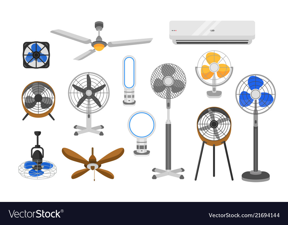 Collection of electric fans of various types