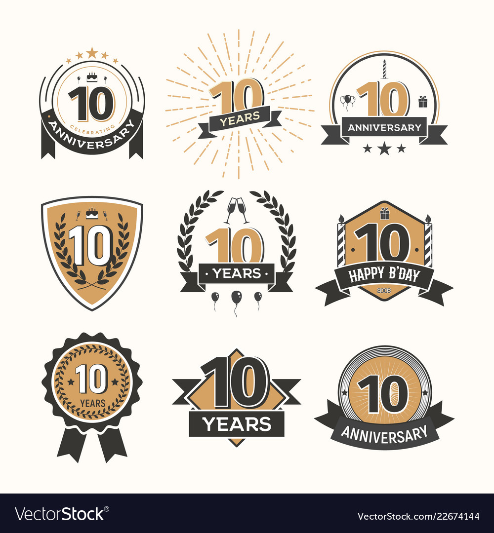 Collection of retro tenth anniversary logo set of