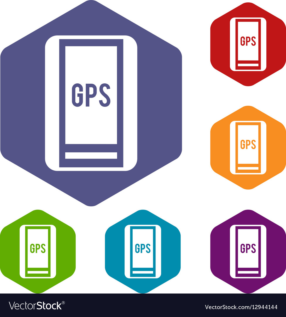 global positioning system icons set royalty free vector