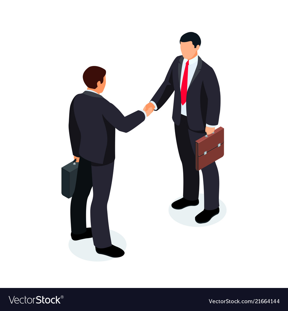 Isometric businessmen shake hands isolated
