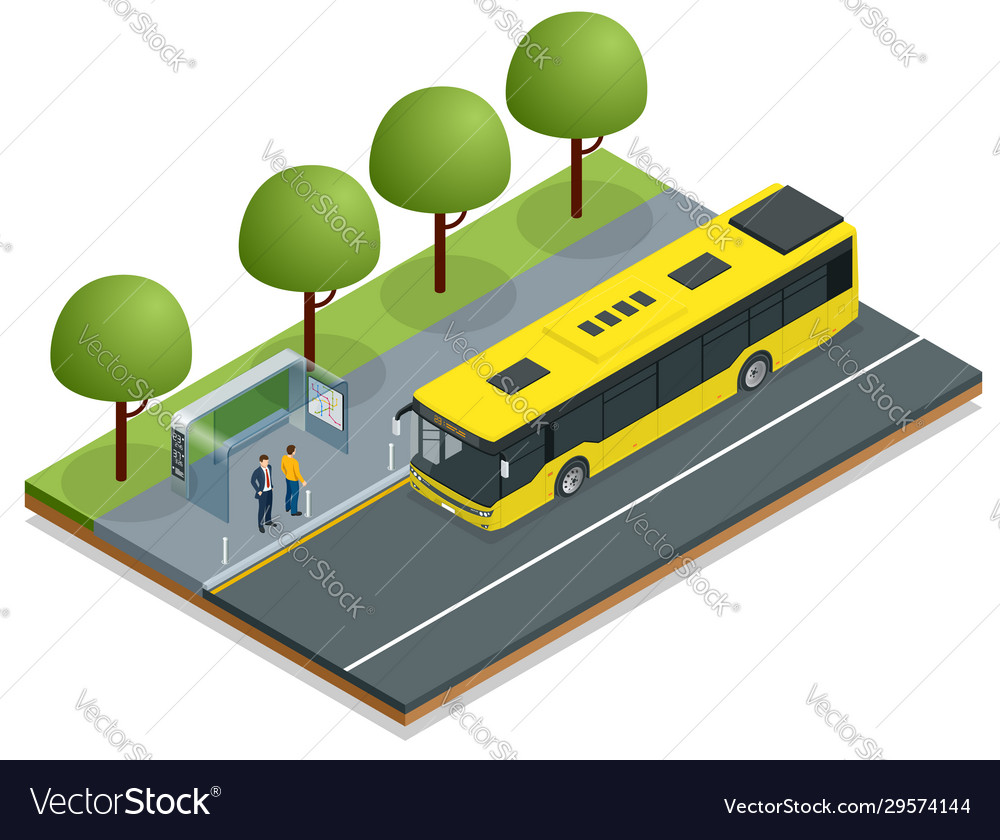 Isometric yellow city bus at a bus stop people